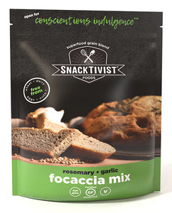 (Pack of 6) Snacktivist Foods Gluten-Free Focaccia Mix, Rosemary Garlic, Non-GMO, Allergen Friendly, No Knead, Vegan, 12 oz bag