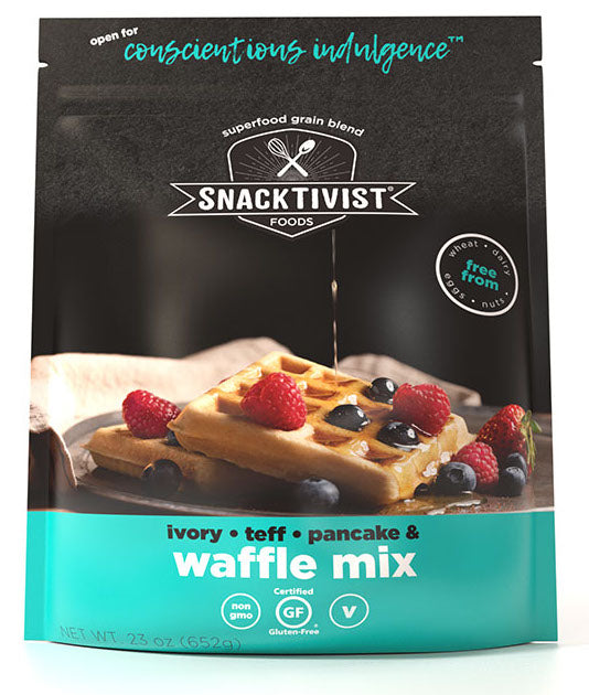 (Pack of 3) Snacktivist Foods Gluten-Free Waffle & Pancake Mix, Ivory-Teff Multigrain, Non-GMO, Allergen Friendly, Vegan, 23 Ounce Bag