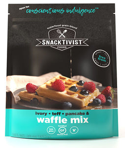 (Pack of 6) Snacktivist Foods Gluten-Free Waffle & Pancake Mix, Ivory-Teff Multigrain, Non-GMO, Allergen Friendly, Vegan, 23 Ounce Bag