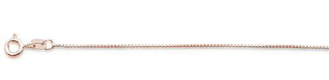 "015-.9MM Rose Gold Plated Round Box Chain .925  Solid Sterling Silver Available in 16""- 22"" inches"