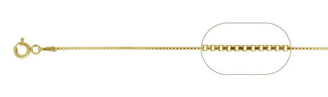 "015-.8MM Yellow Gold Plated Box Chain .925  Solid Sterling Silver Available in 16""- 26"" inches"