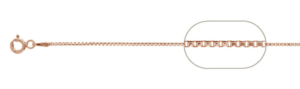 "019-1MM Rose Gold Plated Box Chain .925  Solid Sterling Silver Available in 16""- 26"" inches"