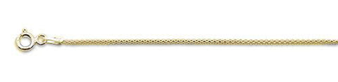 020-1.4MM Yellow Gold Plated Popcorn Chain .925 Solid Sterling Silver Available in 16-22""