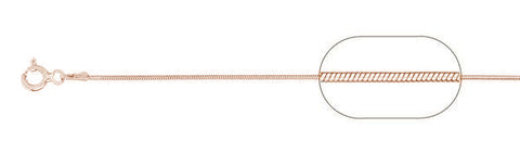 "020-1MM Rose Gold Plated Snake Chain .925  Solid Sterling Silver Available in 16""- 26"" inches"