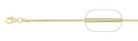 "020-0.7MM Yellow Gold Plated Square Snake Chain .925  Solid Sterling Silver Available in 16""- 22"" inches"