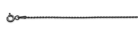 "025-1.2MM Black Rhodium Plated Rope Chain .925  Solid Sterling Silver Available in 16""- 20"" inches"