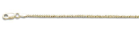 "025-1MM Yellow Gold Plated Crisscross Chain .925  Solid Sterling Silver Available in 16""- 22"" inches"