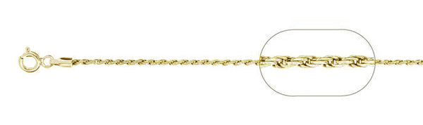 025-1.2MM Yellow Gold Plated Loose Rope Chain .925 Solid Sterling Silver Available in 16-22""