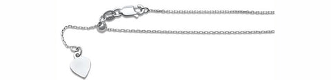030-1.2MM Adjustable Cable Rhodium Chain .925  Solid Sterling Silver Sizes 22""