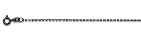 "030-1.2MM Black Rhodium Plated Cable Chain .925  Solid Sterling Silver Available in 16""- 20"" inches"