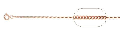 "030-1MM Rose Gold Plated Curb Chain .925  Solid Sterling Silver Available in 16""- 20"" inches"
