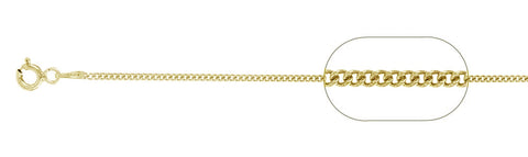 "030-1MM Yellow Gold Plated Curb Chain .925  Solid Sterling Silver Available in 16""- 22"" inches"