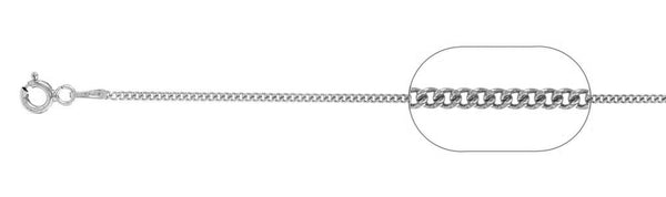 "030-1MM Rhodium Plated Curb Chain .925  Solid Sterling Silver Available in 18""- 22"" inches"