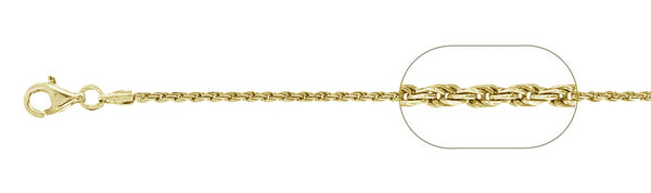 "035-1.6MM Yellow Gold Plated Rope Chain .925  Solid Sterling Silver Available in 7""- 30 "" inches"