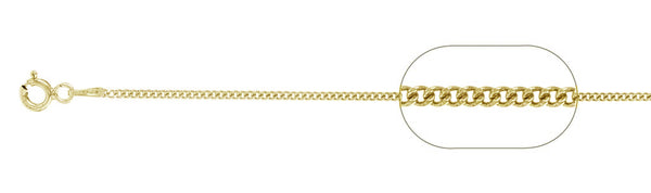 "040-1MM Yellow Gold Plated Curb Chain .925  Solid Sterling Silver Available in 16""- 26"" inches"