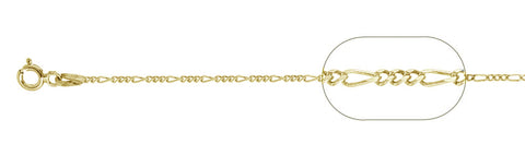 "040-1.5MM Yellow Gold Plated Figaro Chain .925  Solid Sterling Silver Available in 16""- 24"" inches"