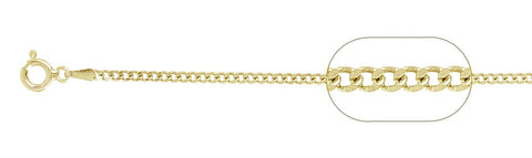 "050-1.7MM Yellow Gold Plated Curb Chain .925  Solid Sterling Silver Available in 16""- 26"" inches"