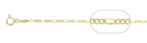 "050 Yellow Gold Plated Figaro Chain .925  Solid Sterling Silver Available in 16""- 20"" inches"