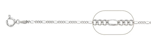 "050-1.8MM Rhodium Plated Figaro Chain .925  Solid Sterling Silver Available in 16""- 26"" inches"
