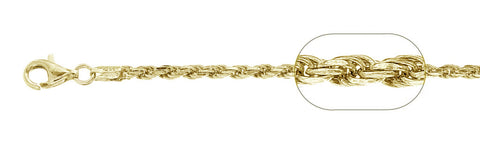 "060-3MM Yellow Gold Plated Rope Chain .925  Solid Sterling Silver Available in 8""- 30 "" inches"