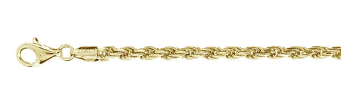 "080 Yellow Gold Plated Rope Chain .925  Solid Sterling Silver Available in 20""- 28"" inches"