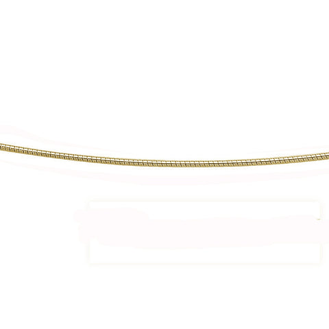1.25MM Yellow Gold Plated .925 Sterling Silver Round Omega Necklace Chain 16-18""