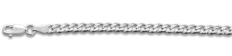 "100-4MM Pave Curb Chain .925  Solid Sterling Silver Available in 7""- 30"" inches"
