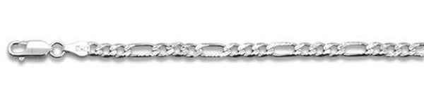"100-4MM Pave Figaro Chain .925  Solid Sterling Silver Available in 8""- 30"" inches"