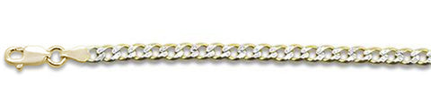 "100-4MM Yellow Gold Plated Pave Curb Chain .925  Solid Sterling Silver Available in 7""- 32"" inches"