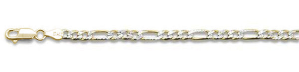 "100-4MM Yellow Gold Plated Pave Figaro Chain .925  Solid Sterling Silver Available in 7""- 32"" inches"