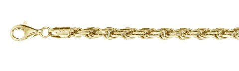 "100-5MM Yellow Gold Plated Rope Chain .925  Solid Sterling Silver Available in 8""- 30"" inches"