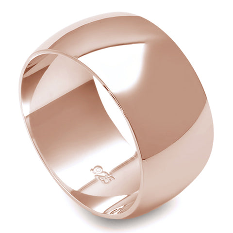10MM SOLID ROSE GOLD PLATED ROUND PLAIN .925 STERLING SILVER WEDDING BAND SIZES 5-12