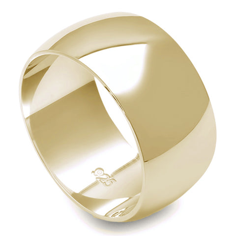 10MM SOLID YELLOW GOLD PLATED ROUND PLAIN .925 STERLING SILVER WEDDING BAND SIZES 5-12