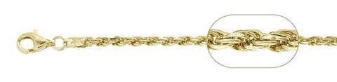120-6MM Yellow Gold Plated Rope Chain .925 Solid Sterling Silver Sizes 8-30""