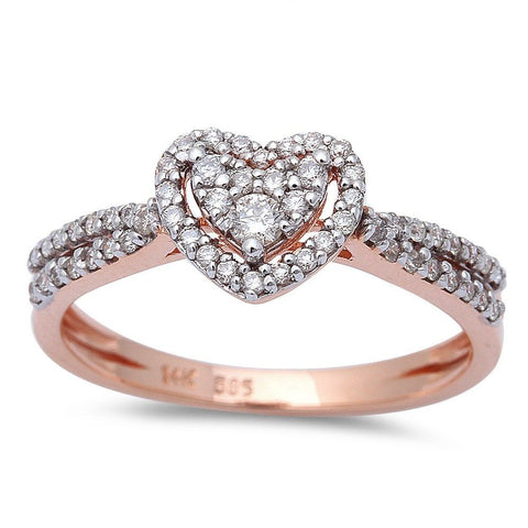 .31ct Heart Shaped Halo Diamond Engagement Wedding Ring 14kt Rose Gold