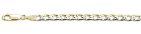 "120-4.5MM Yellow Gold Plated Pave Curb Chain .925  Solid Sterling Silver Available in 7""- 26"" inches"
