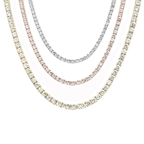 "5MM Available 3 Colors Round Cubic Zirconia Necklace .925 Sterling Silver 18-28"" Long"