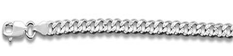 "150-6MM Pave Curb Chain .925  Solid Sterling Silver Available in 8""- 30"" inches"