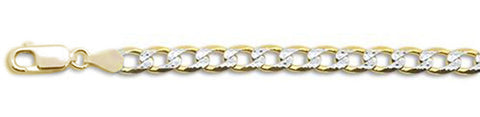 "150-6MM Yellow Gold Plated Pave Curb Chain .925  Solid Sterling Silver Available in 8""- 32"" inches"