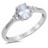 Oval Cz Beautiful Fashion .925 Sterling Silver Ring Sizes 4-10