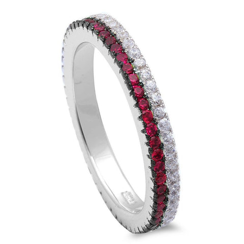 <span>CLOSEOUT!</span> Ruby & Cz Band .925 Sterling Silver Ring Sizes 5-11