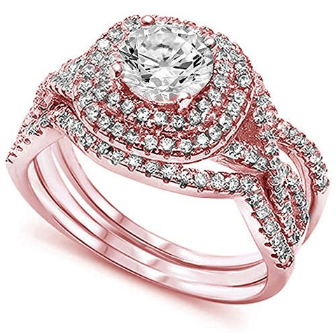 <span>CLOSEOUT!</span> Rose Gold Plated Wedding Set Round CZ .925 Sterling Silver Ring Sizes 5-10