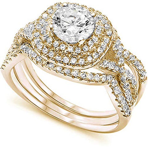 <span>CLOSEOUT!</span> Yellow Gold Plated Wedding Set Round CZ .925 Sterling Silver Ring Sizes 4-10
