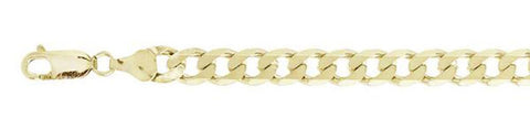 180-7MM Yellow Gold Plated Flat Curb Chain .925  Solid Sterling Silver Sizes 8-30""
