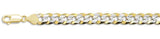"180-7.9MM Yellow Gold Plated Flat Pave Curb Chain .925  Solid Sterling Silver Available in 8""- 32"" inches"