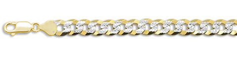"180-7MM Yellow Gold Plated Flat Pave Curb Chain .925  Solid Sterling Silver Available in 8""- 32"" inches"