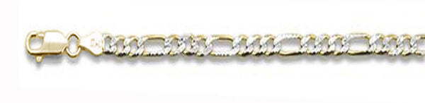 "180-7.2MM Yellow Gold Plated Pave Figaro Chain .925  Solid Sterling Silver Available in 8""- 32"" inches"