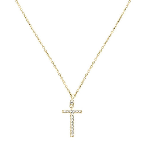 ".07cts 10kt Yellow Gold Round Diamond Cross Pendant Necklace 18"" Long"