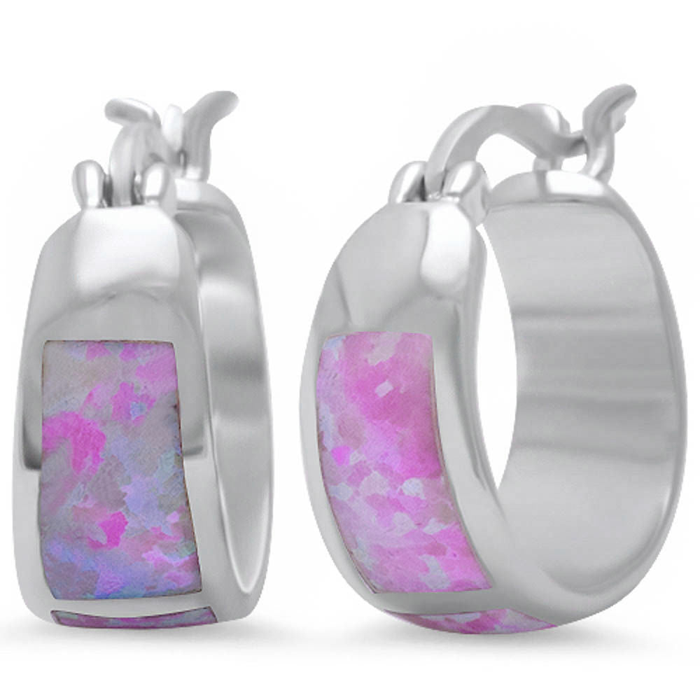 <span>CLOSEOUT!</span>Pink Fire Opal Hoop .925 Sterling Silver Earrings