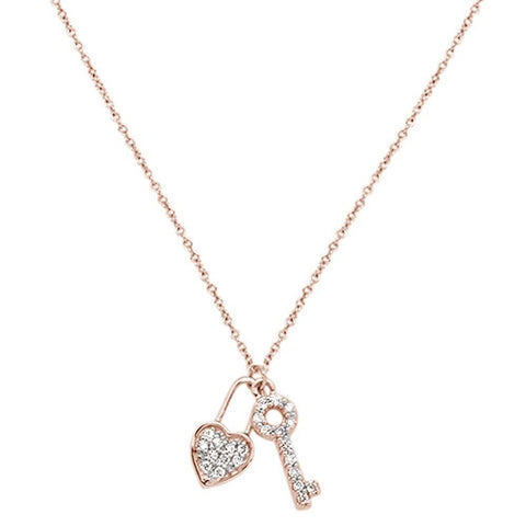 .13cts 14kt Rose Gold Round Diamond Key to My Heart Pendant Necklace 18""